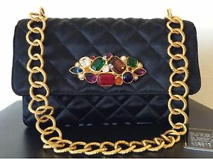 c8b4e8064b49 Image is loading SUPER-RARE-VINTAGE-CHANEL-BLACK-SILK-GRIPOIX-FLAP-