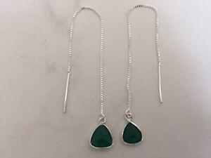 Genuine-925-Sterling-Silver-Threader-Earrings-Teardrop-Gemstone-Emerald-Green