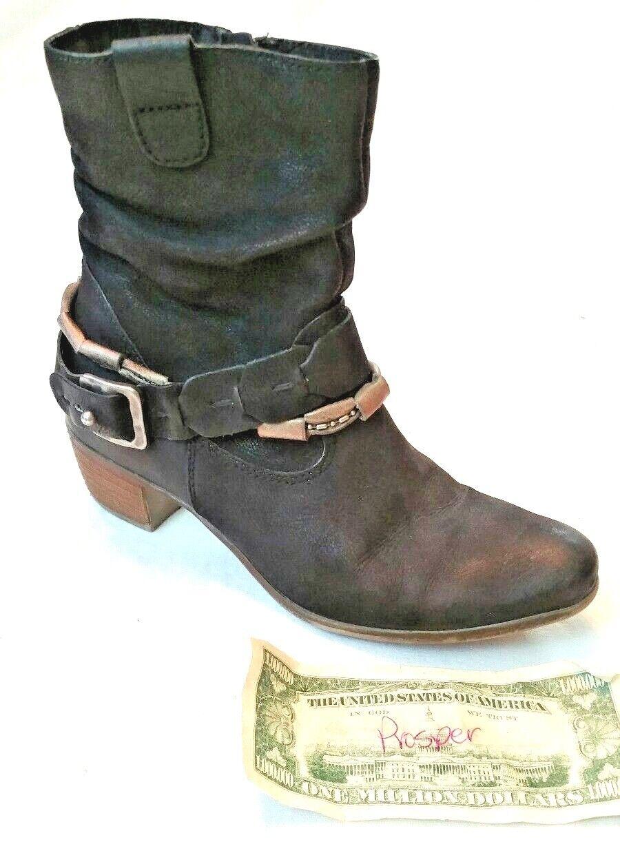 MJUS GRETEL Women SZ 38 Booties Slouchy Western Inspired Strap Wrapped Zip Black