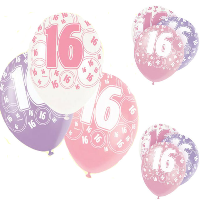 Pack Of 6 Unique 12 Latex Glitz Pink 16th Birthday Balloons Decoration