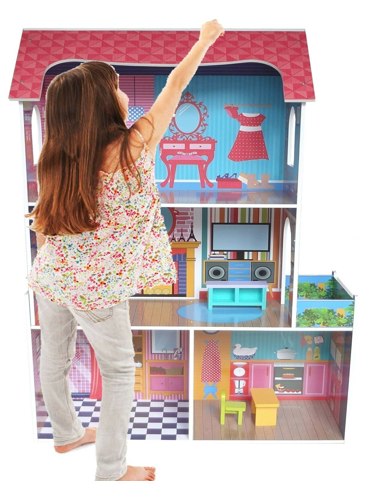 Kiddi Style Large Kids Girls Tall Town Wooden Doll House & Furniture Fits Barbie
