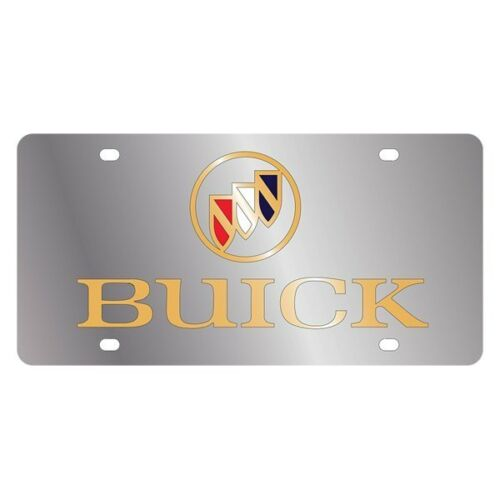 Eurosport Daytona 1101-2 GM Polished License Plate w Gold Buick Logo /& Emblem
