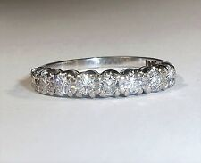 Vintage 18ct White Gold 0.70ct Diamond Half Eternity Ring, Size P