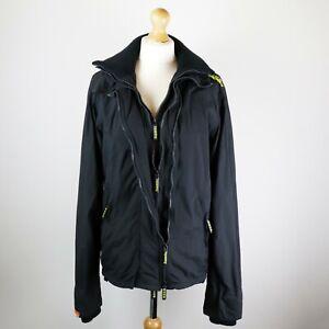 Herren Superdry Badeanzug 3-zip Jacke Größe Medium Mesh gefüttert Windbreaker schwarz