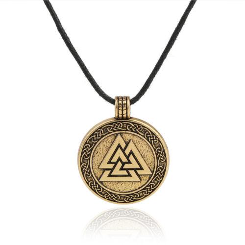Vintage Talisman d/'Odin symbole Valknut Celtique Irlandais Knot Pendentif Amulette Collier