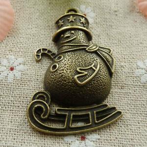 Antique Bronze Snowman Pendant Snowman Charm Metal Snowman Pendant Snowman Pendant Large Snowman Pendant
