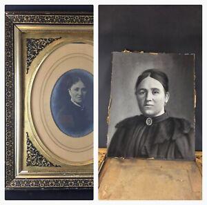 Tres-rare-cadre-Napoleon-3-bois-stuc-noir-or-Photo-amp-fusain-cache-a-l-interieur
