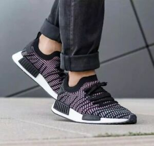 Details about NEW Adidas NMD_R1 STLT PK Mens Shoes Core Black Grey Solar Pink CQ2386 BOOST