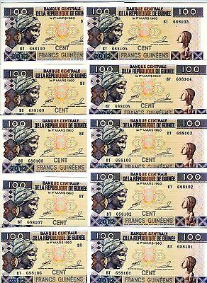 LOT, Guinea, 10 x 100 Francs, 2012, P-New, UNC > colorful