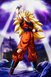 Dragon-Ball-Z-Poster-Goku-SSJ-3-W-Background-12inches-x-18inches-Free-Shipping