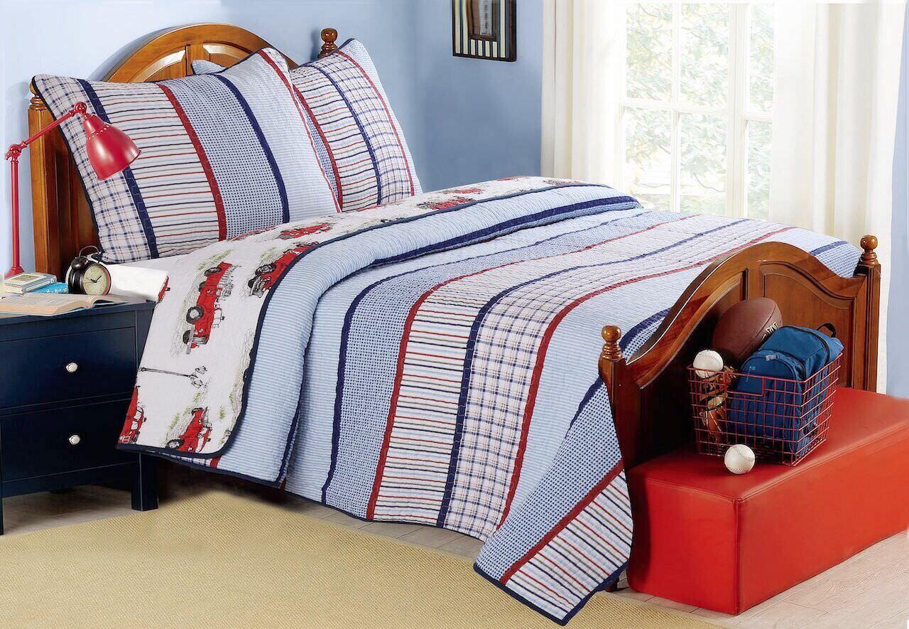 Benjamin Stripe Print Reversible Reversible Reversible 100%Cotton Quilt Set, Bedspread, Coverlet edd3b0