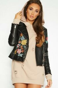 Flower Studded New Faux Leather Mist Embroidered Jacket Women Urban Biker rXwxwA6t