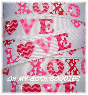 7/8 VALENTINE GLITTER CHEVRON XO LOVE HEART GROSGRAIN RIBBON 4 HAIRBOW BOW WHITE