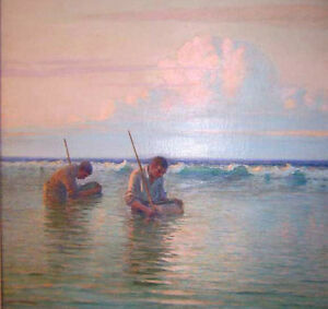 """perfect 30x30 oil painting handpainted on canvas """"Fishermen """"N4565"""