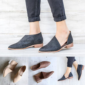 Women-Block-Heel-Leather-Ankle-Boots-Slip-On-Side-Cut-Out-Pointed-Toe-Shoes-Size