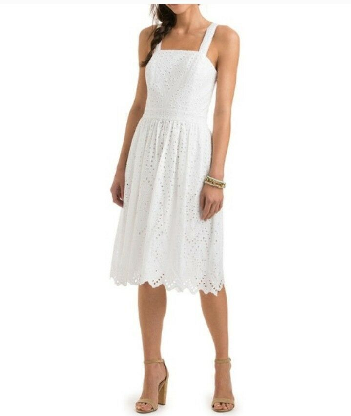 Vineyard Vines Solid White Eyelet Strapless Dress 14 New