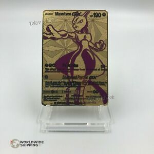 Carte-Pokemon-Mewtwo-GX-EX-Gold-Fan-Made-Custom-Metal-Card-RARE
