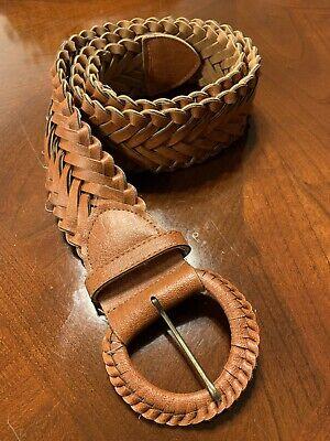"Women/'s Brown Leather Braided Belt Silver Buckle Size Medium 34.5/"" R"