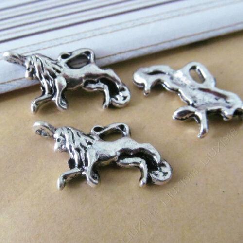 10pc tibetano plata encanto colgante Animal León Fabricación de Joyas Accesorios N772