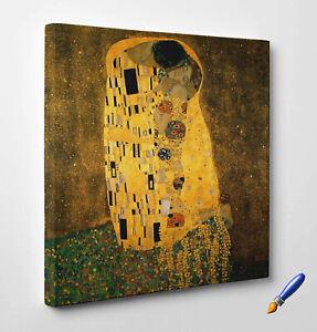 Quadro-Klimt-il-Bacio-Stampa-Fine-Art-di-Pregio-su-Tela-Vernice-Pennellate
