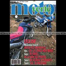 MOTO VERTE N°204-b YAMHA XTZ 660 TENERE KAWASAKI 500 KLE ENDURO DU TOUQUET 1991