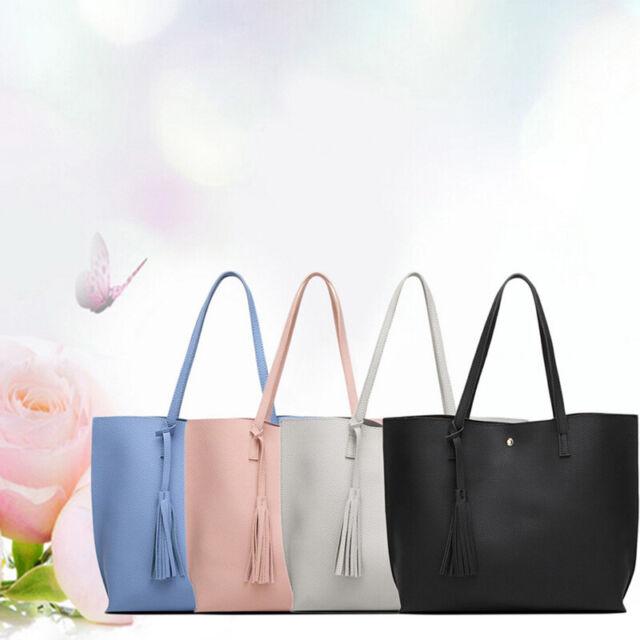 2pcs//set Casual Leather Women Shoulder Bag Pure Color Large Handbag Clutch N#S7