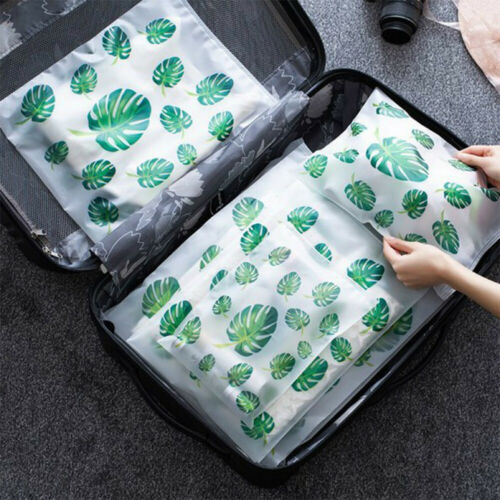 5PCS Plastic Bag Storage Pouch Translucent Zip Lock Waterproof Cloth Organizer