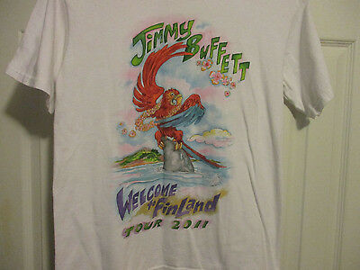 Mens M Jimmy Buffett Welcome to FinLand Tour 2011 White Parrot Head T-Shirt