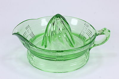 Green Crisscross Pattern Depression Glass Orange Reamer Hazel Atlas Uranium