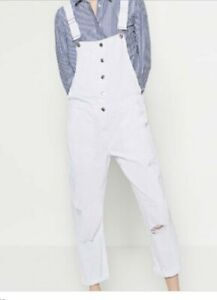 2019 best lace up in discount up to 60% Details about NWT Women Zara Overalls White Denim Large