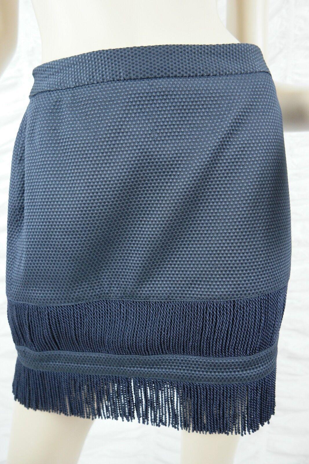 SASS & BIDE navy bluee textured On The Fringe tassle A-line mini skirt size 8 GUC