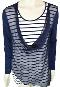 Soft-Surroundings-Silk-Tunic-Top-Blouse-Size-Medium-Cowl-Neck-Striped-Navy-Blue