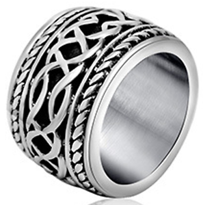 Men/'s 316L Stainless Steel Two Tone Cut Out Celtic Cross Band Ring US Size10-15