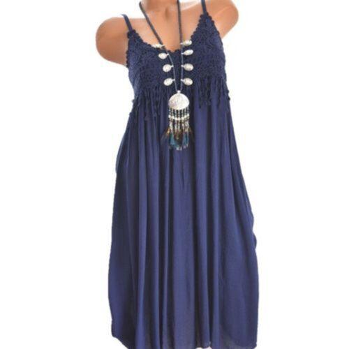 Damen Spitze Minikleid Hemd Sommerkleid Strandkleid Kleider Tunika Longshirt