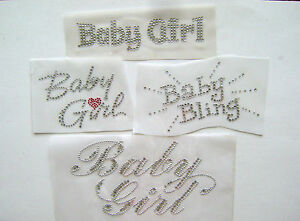 GIRLY-WORD-BLING-BABY-GIRL-RHINESTONE-IRON-ON-APPLIQUE-HOT-FIX-TRANSFER