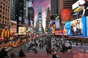 "photo landscape art print new york time square satin paper poster 36"" x 24"""
