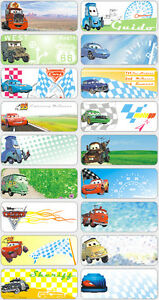 18 Pixar Cars Personalised Name Label 4 6x1 8cm Sticker Kids Book