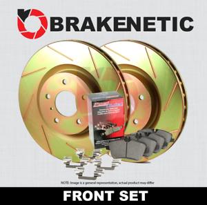 FRONT BRAKENETIC SPORT SLOTTED Brake Rotors POSI QUIET CERAMIC Pads BSK83384