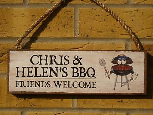 PERSONALISED BBQ SIGN BARBECUE SIGN OWN NAMES UNIQUE PLAQUES UNUSUAL FUNNY SIGNS