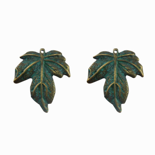 8pcs Green Bronze Maple Leaf Shaped Alloy Pendants Charms Findings Crafts 52081