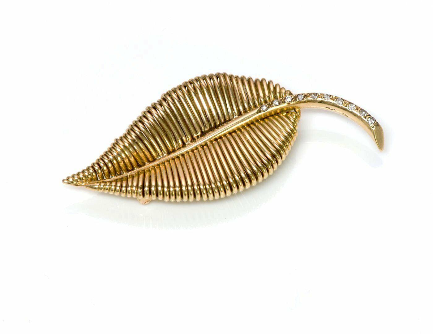 Mauboussin Paris 18K Yellow gold Diamond Leaf Brooch Pin