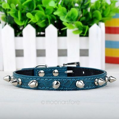 Cute Adjustable Pet Cat Dog Neck Strap PU Leather Rivet Spiked Studded Collar