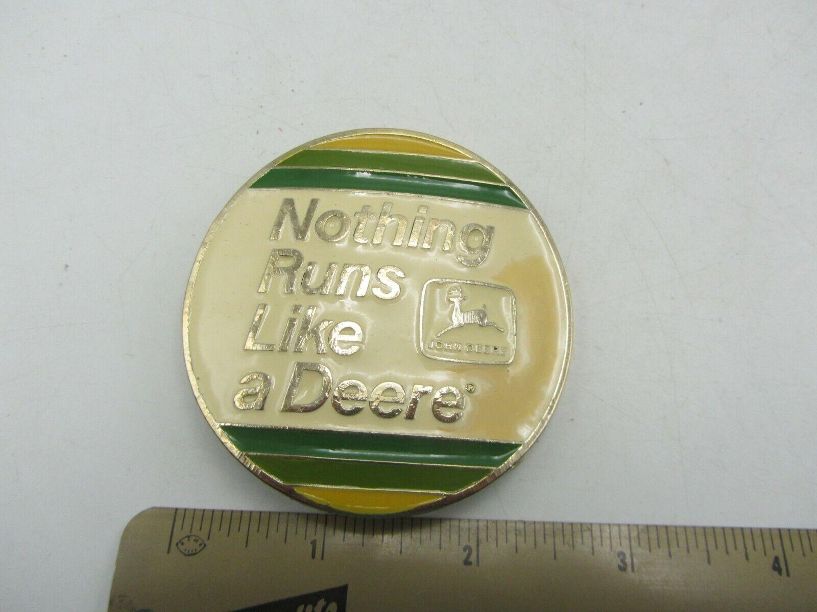 Vintage 1983 Circular John Deere Nothing Runs Like a Deere Tractor Belt Buckle