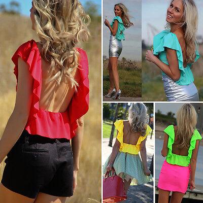 Fashion Women Casual Lace Shirts Chiffon Blouses Summer Tops Backless T Shirt