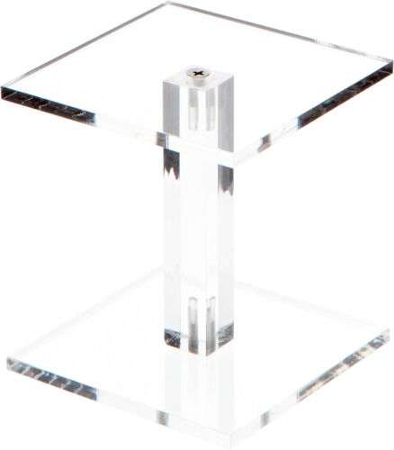 """Plymor Clear Acrylic Square Barbell Pedestal Riser 4.5/""""H x 4/""""W x 4/""""D 1//4/"""" thick"""