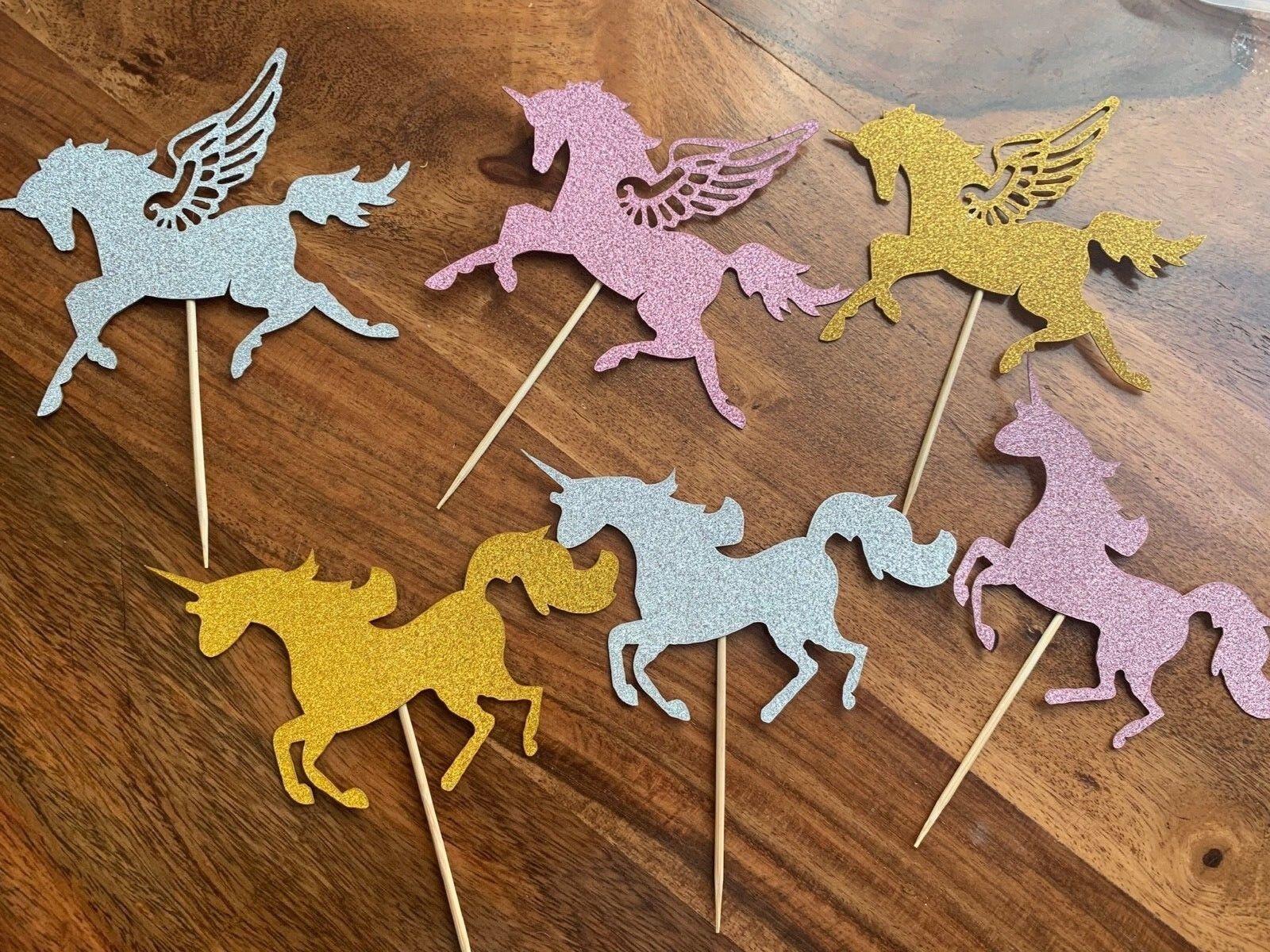 État 500 Non Hangar paillettes Unicorn Pegasus Fête Gateau Toppers Rose Or Argent