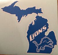 Detroit Lions Michigan Decal Blue & White Free Shipping
