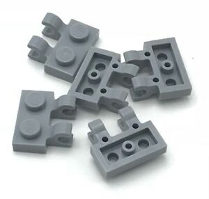 Lego-5-New-Light-Bluish-Gray-Plates-Modified-1-x-2-with-Clips-Horizontal-Pieces