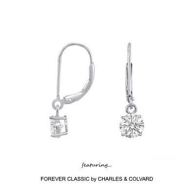 Charles /& Colvard 10K White Gold Earrings Forever Classic Moissanite 1.00ct DEW