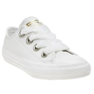 a6b963dd5448 New Infants Converse White Ctas Big Eyelets Ox Leather Trainers ...